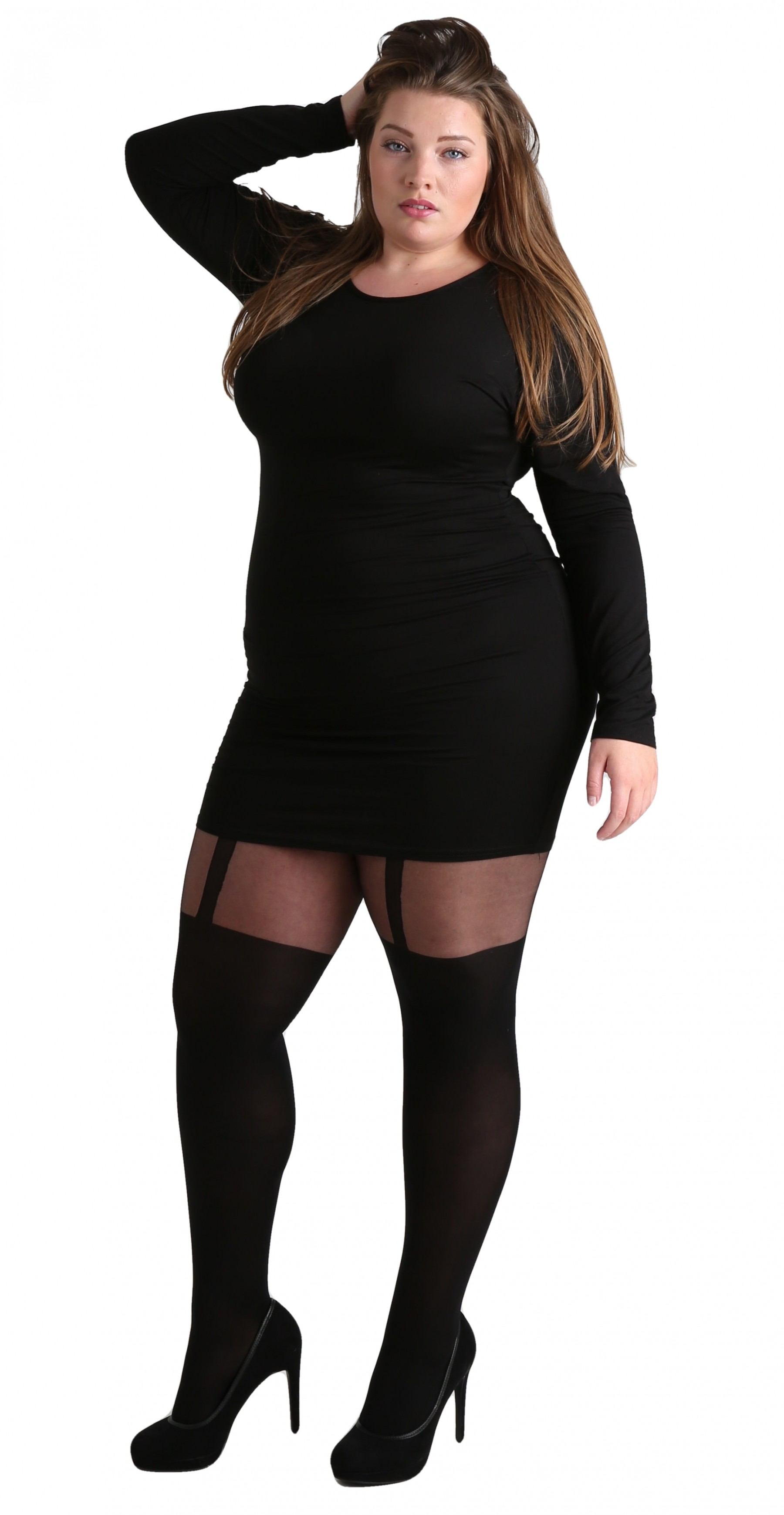 Wholesale Plus Size Plain Stripe Suspender Tights (Black), Pamela Mann, Supplying The Trade For ...