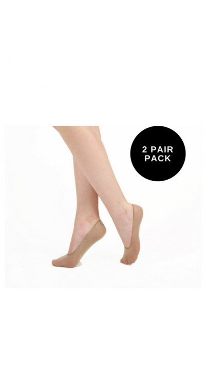 2 Pair Pack Invisible Footlet Socks (Nude/Nude)