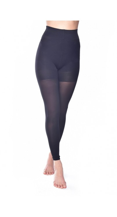 50 Denier Footless Bum, Tum and Support Tights (Black)