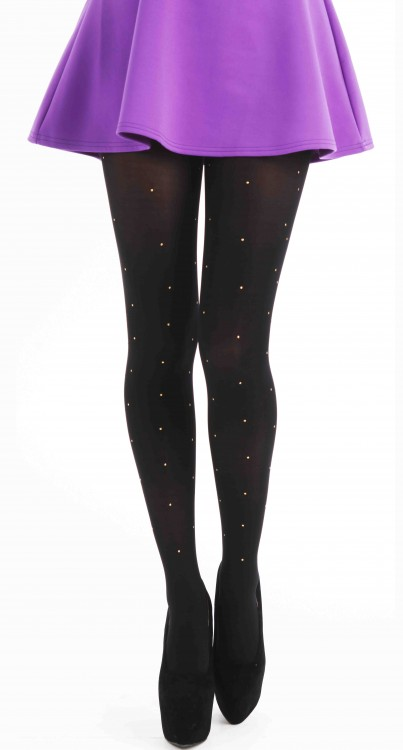 80 Denier Tights With Small Gold Studs (Black/Gold)