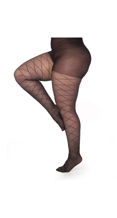 Argyle Glitter Tights- Black/Silver