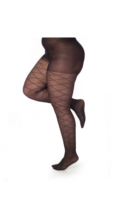 Argyle Glitter Tights- Black/Gold