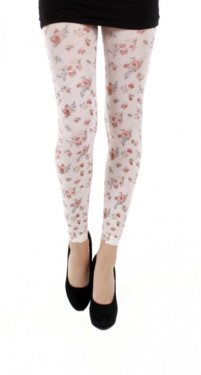 Autumn Flower Printed Footless Tights
