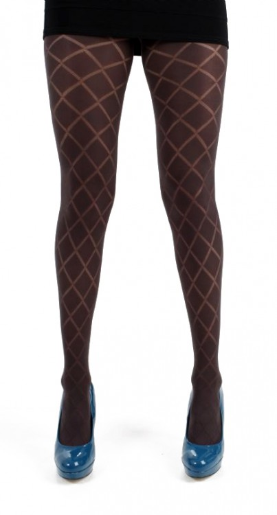 Classic Diamond Opaque Tights (Chocolate)