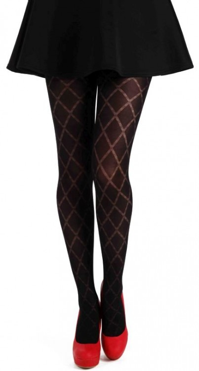 Classic Diamond Opaque Tights (Black)