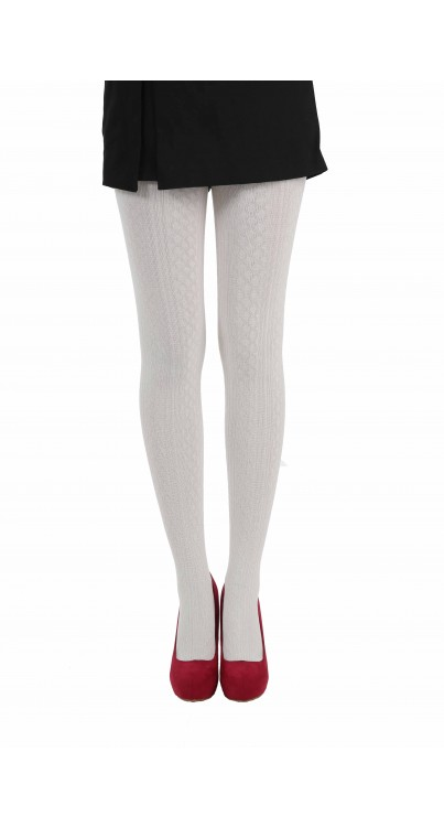 Cable Knit Tights Cream