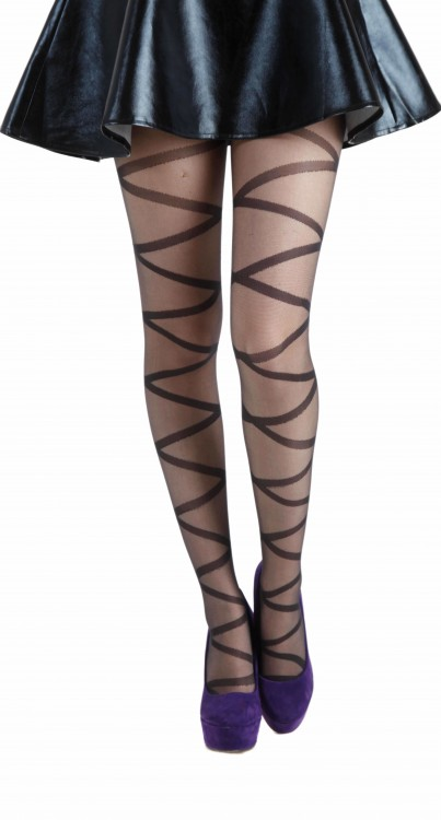 Criss Cross Sheer Tights Black