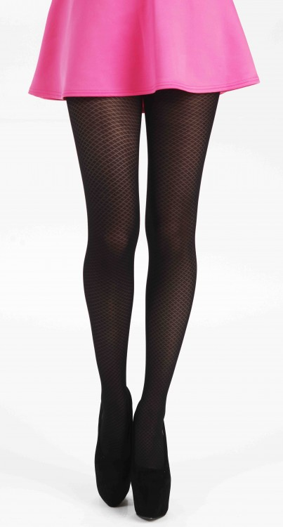 Criss Cross Opaque Tights (Black)