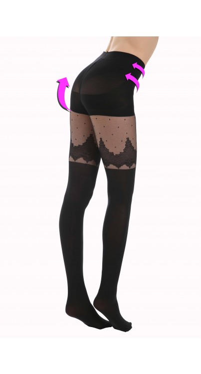 Art Deco Suspender Style Support Tights (Black)