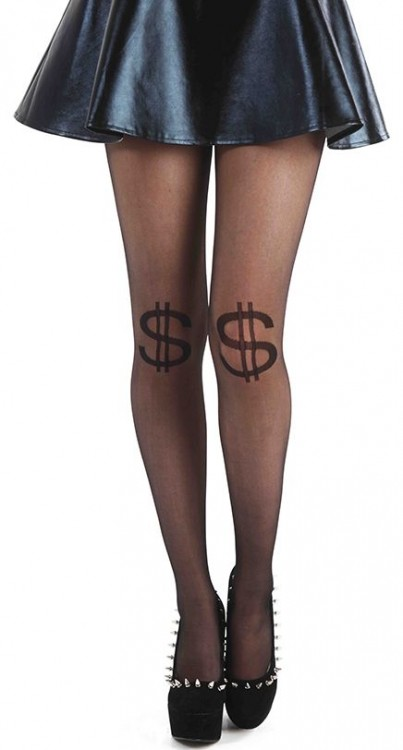 Dollar Knee Sheer Tights (Black)