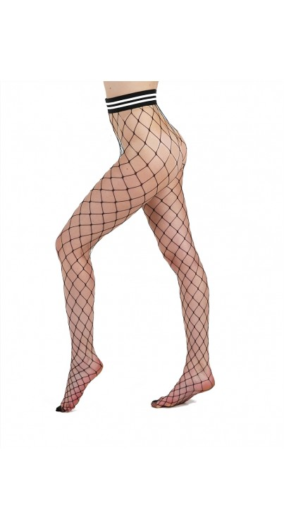 Extra Large Net Tights with Waistband (Black)