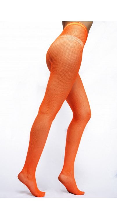 fishnet tights flo orange
