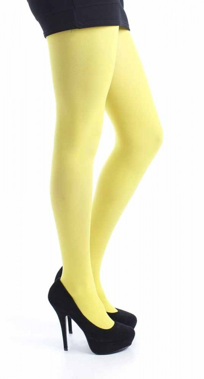 40 DENIER VELVET TIGHTS (FLO YELLOW)