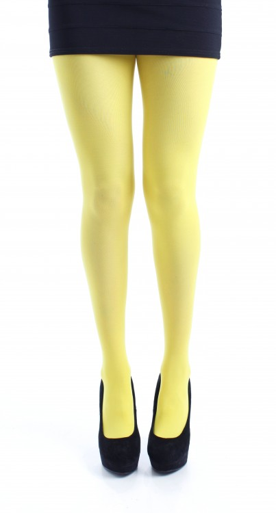 40 Denier Opaque Tights (Flo Yellow)