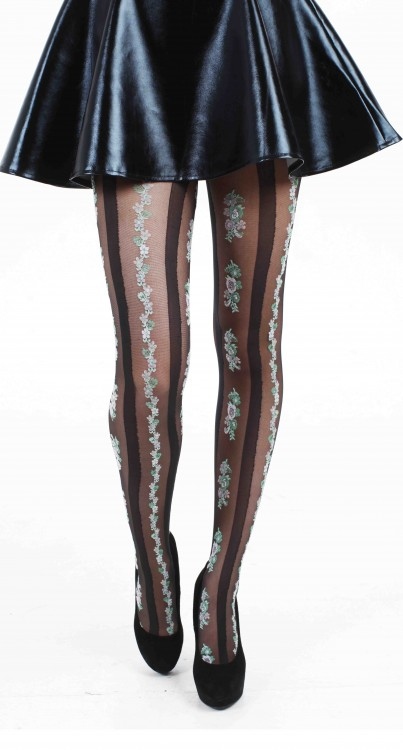 Floral Stripe Tights