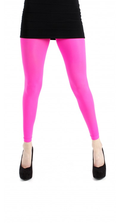 Fluorescent Pink 40 Denier Velvet Footless Tights