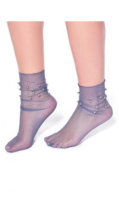 Glitter Ankle Socks with Beading (Navy)