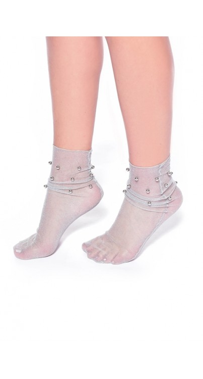 Glitter Ankle Socks with Beading (Silver)