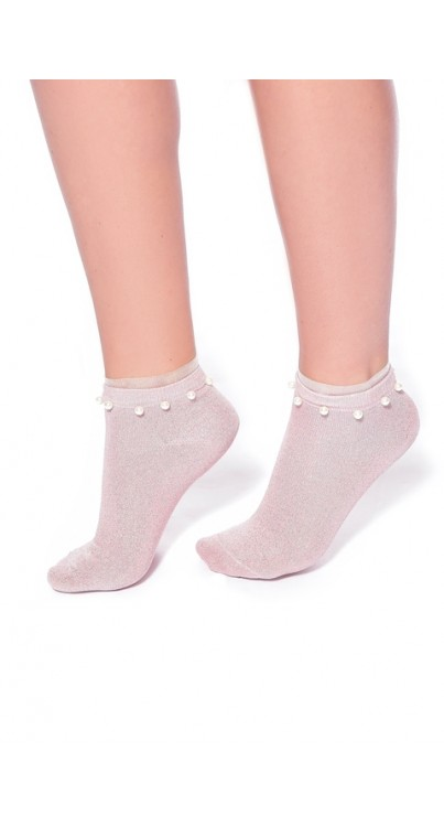 Glitter Ankle Socks with Pearls and Frill (Pink)