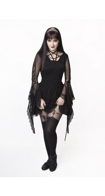 Gothic Cross Suspender Tights (Black)