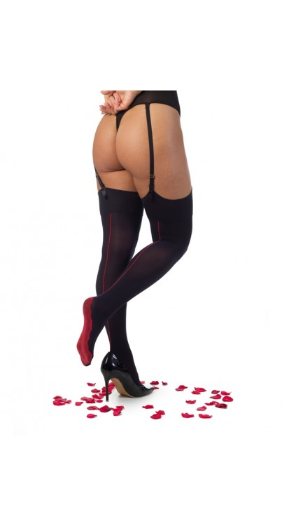 Opaque Stockings with Seam and Lace Foot (Black/Red)