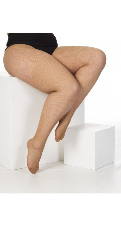 Plus Size Fishnet Tights (Nude)