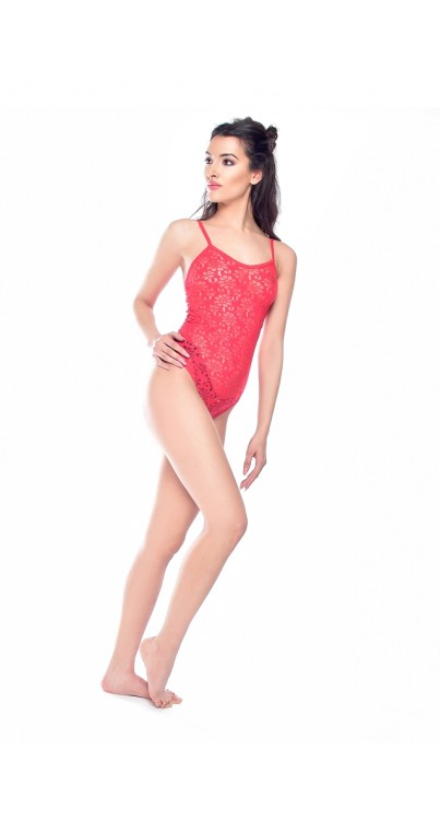 Ivy Lace Body Stocking (Red)