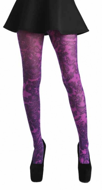 Lace Frill Printed Tights (Flo Pink)