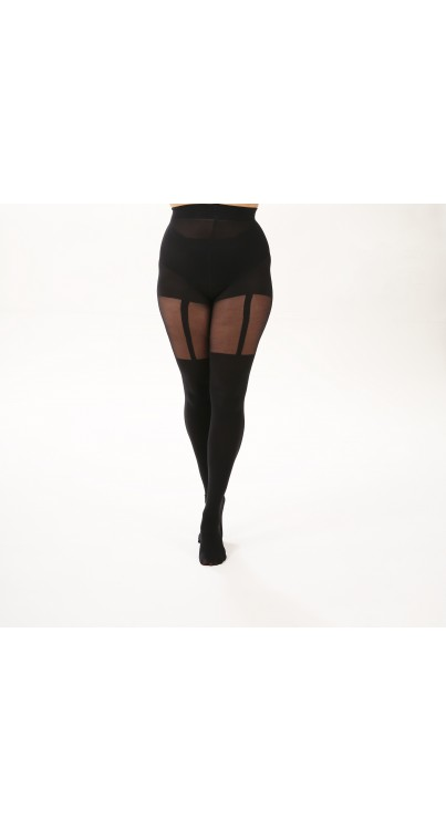 Plain Stripe Suspender Curvy Super Stretch Tights Black