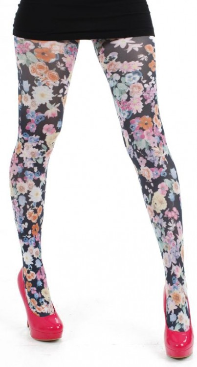 Midnight Garden Printed Tights