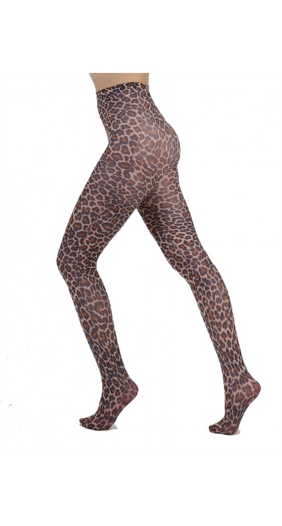 Small Leopard Printed Tights (Natural)
