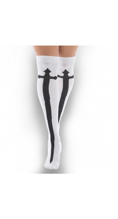over knee sock black cross on white