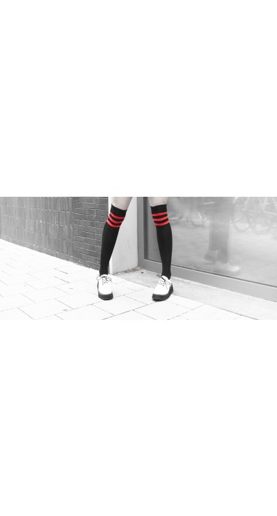Black Overknee Socks with red stripes (Black/Red)