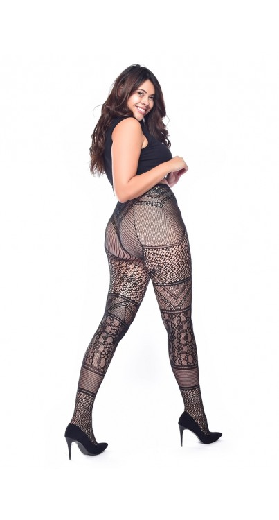 Lace Panelled Tights (Black)