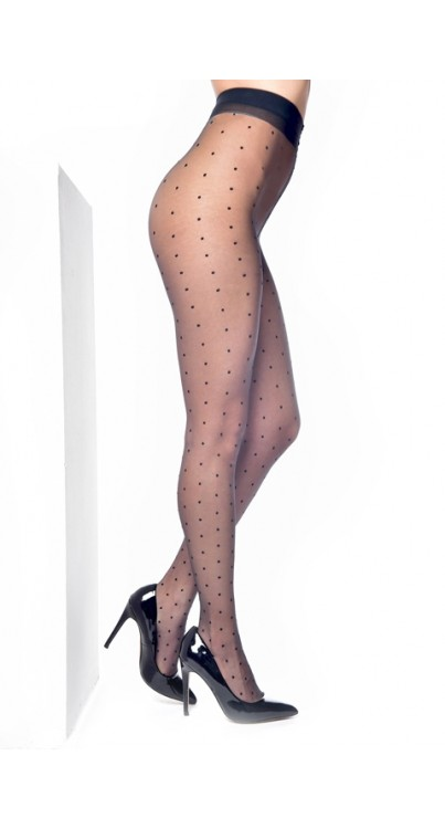 Luxury Sheer Dotty Tights (Black)