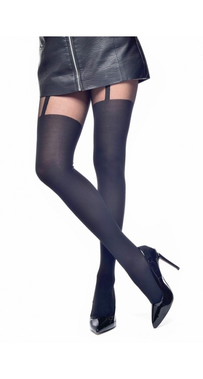 Plain Stripe Suspender Tights (Black)