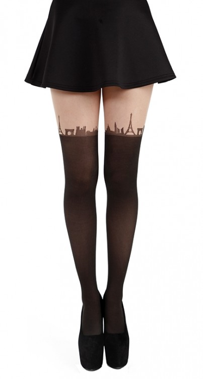 Paris Skyline Tights (Black)