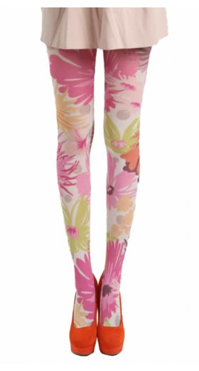 Perfect Note Printed Tights (Pink)