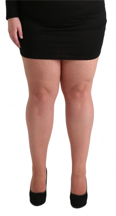 Plus Size Fishnet Tights Nude