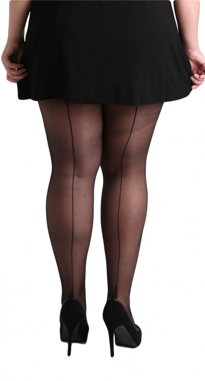 Plus Size Jive Seamed Tights (Black/Black)