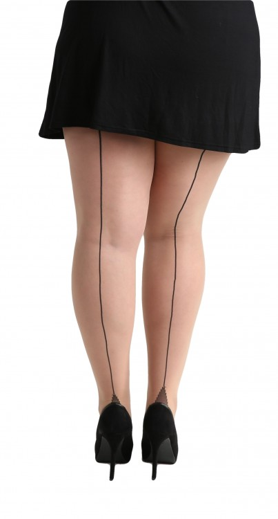 Plus Size Jive Seamed Tights (Nude/Black)