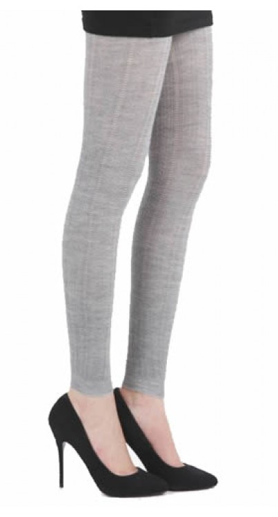 Pointelle Rib Leggings (Grey)-One Size