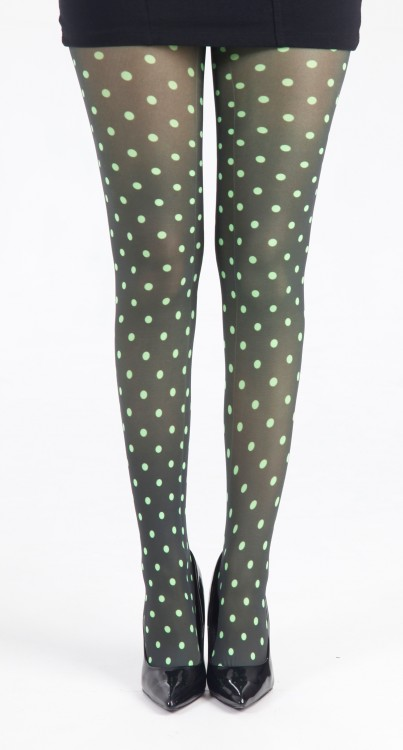 Polka Dot B Printed Tights (Flo Green)
