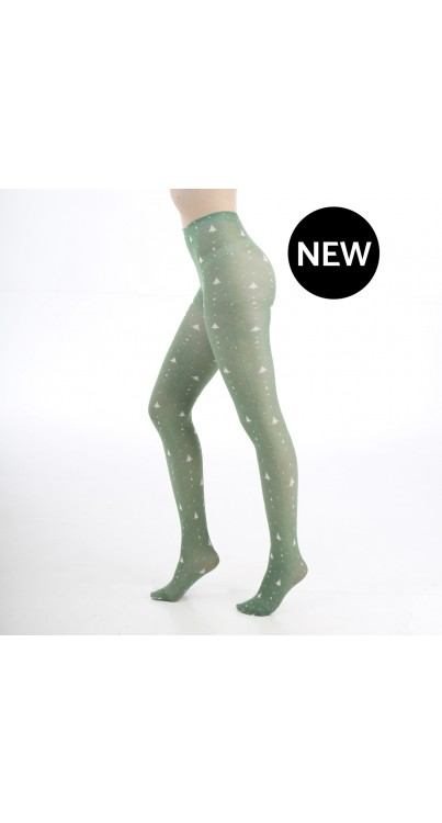 xmas tree printed tights