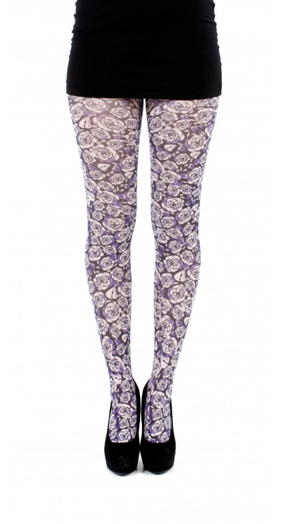 Purple Rose Printed Tights