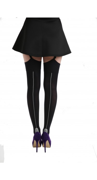 Opaque Stockings with Seam and Lace Foot