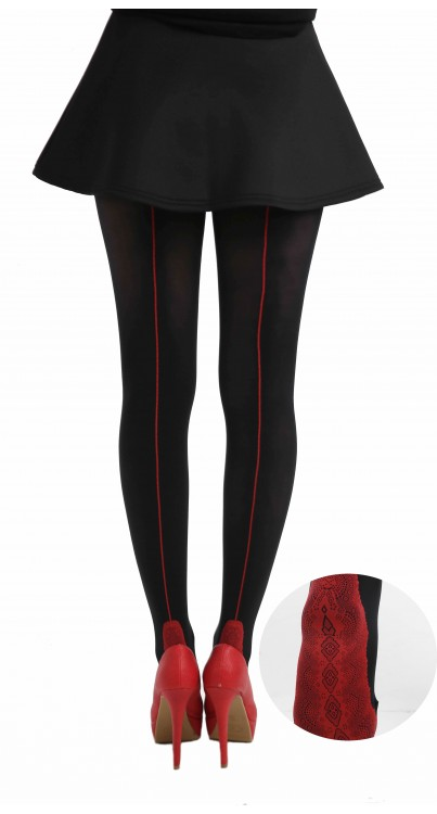 Opaque Tights Black with Red Seam/Lace Foot