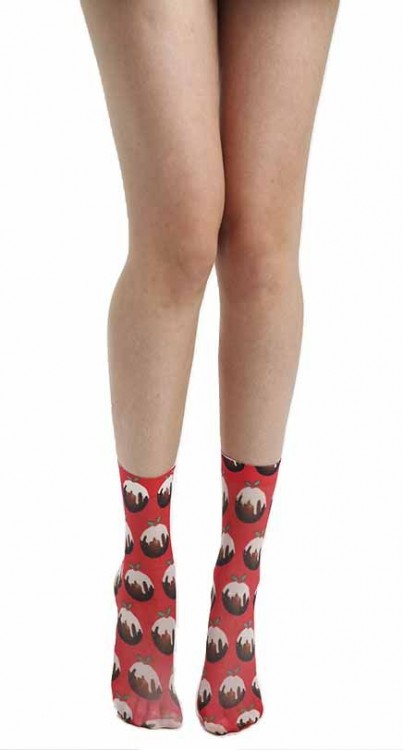 Christmas Pudding Printed Novelty Ankle Socks