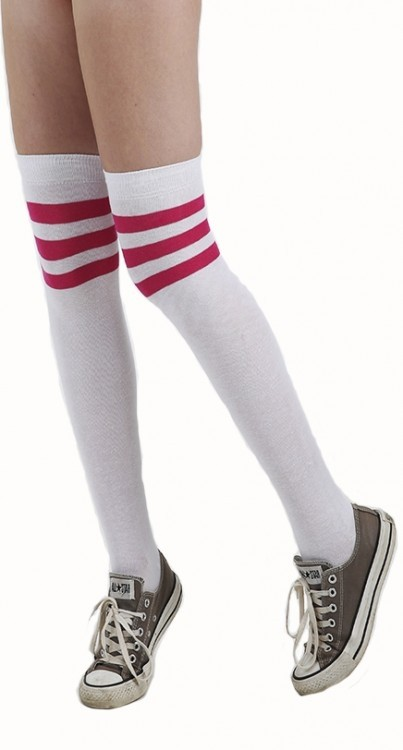 referee over the knee socks white pink