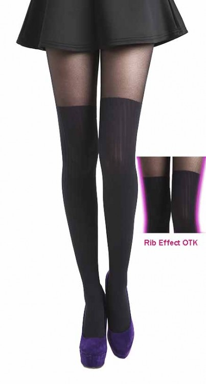 Rib Over The Knee Tights (Black)